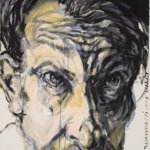 Autoportret Wojciecha Bukowieckiego. Wykonany czarną i żółtą farbą. Mężczyzna spogląda przed siebie spode łba. Widać jego prawe ucho. Tło jest kremowe.