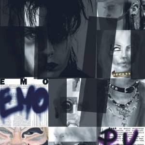 """Dyplom 2020 Katarzyna Gierkowska. Projekt zin dotyczącego zestawienia podobieństw kultury afrykańskiej z współczesnymi subkulturami.  Widnieją na nim portrety przedstawicieli subkultur. Jak również dwa napisy: """"emo"""" i """"punk""""."""