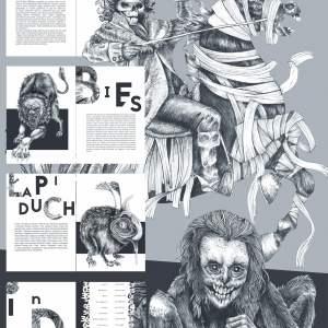 Dyplom 2020 Martyna Pucek. Ilustracje do książki pod tytułem Demonologia słowiańska. W centralnym miejsce czarno-biały jeździec o nagiej czaszce w kapeluszu. Widziany jest bokiem. Trzyma włócznie. Pod koniem owiniętym bandażami małpa.  Ściska mysz.
