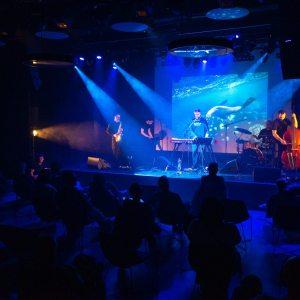 Niebieska poświata. Widziana z tyłu publiczność w fotelach. Na scenie zespół oświetlony białym światłem reflektorów.