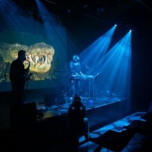 Mroczne zdjęcie. Snopy światla na scenie, dwóch muzyków, a za nimi zdjęcie paszczy krokodyla.
