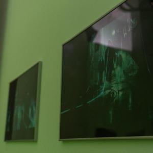 Dwie wiszące na ścianie prace. Z prawej Society 2.0 Łukasza Sienkiewicza.
