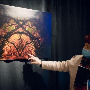 Starsza kobieta w białej marynarce dotyka fotografię palcem prawej dłoni. Rękę ma wyciągniętą. Zawieszone pod sufitem zdjęcie przedstawia czarne konary drzew  otoczone czerwonymi obłokami.