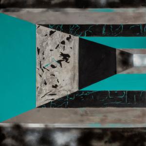 Przestrzeń płótna podzielona barwnymi pasami tworzącymi złudzenie przestrzeni