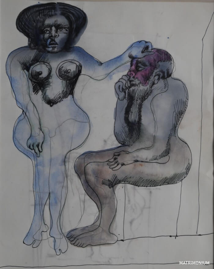 """Grafika zatytułowana """"Matrimonium"""". Dwie postaci. Po lewej stronie naga kobieta o błękitnym kolorze ciała. Siedzi przodem. Lewą dłonią drapie czubek głowy również pozbawionego ubrania mężczyzny. Zajmuje on miejsce na krześle. Bokiem. Ma długą brodę i czerwoną twarz."""