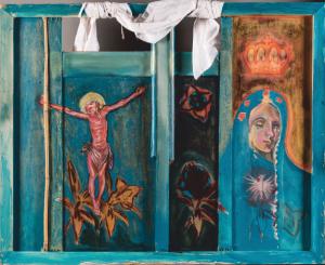 """Remigiusz Dobrowolski """"Trzy dni ciemności 1 (Maryja płacząca z różańcem i gromnicą oraz pejzaż z zaćmieniem słońca"""", akryl, technika własna, 80x100, 2019"""