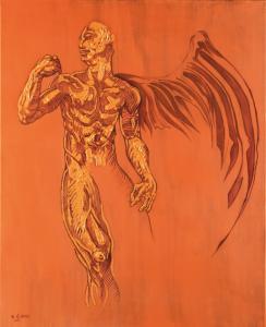 """Szymon Ćwikliński """"Archanioł"""", tempera, olej, 100x80 cm 2019 r."""