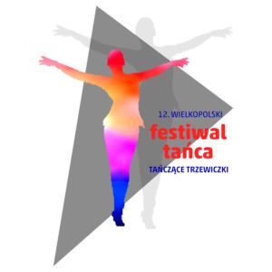 """Grafika przedstawia tancerkę i napis Wielkopolski Festiwal Tańca """"Tańczące Trzewiczki"""""""