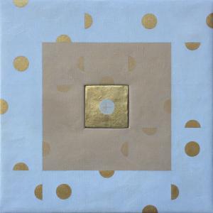 """Witold Adamczyk """"Eucharystia"""", akryl, złoto płatkowe, płótno, deska, 50x50cm, 2019"""