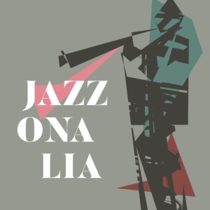 """grafika przestawia postać muzyka z trąbką i napis """"Jazzonalia"""""""