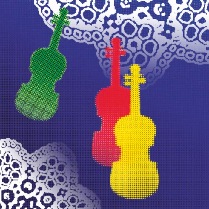 Grafika - na granatowym tle przedstawiony 3 pary skrzypiec w różnych kolorach i fragmenty biały serwetek
