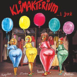 Na plakacie cztery kolorowe kobiece postacie z balonami