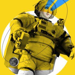 graficzna postać kobiety w stroju kosmonauty