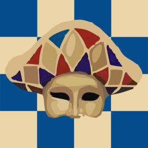 Grafika przedstawia szachownicę i maskę wenecką